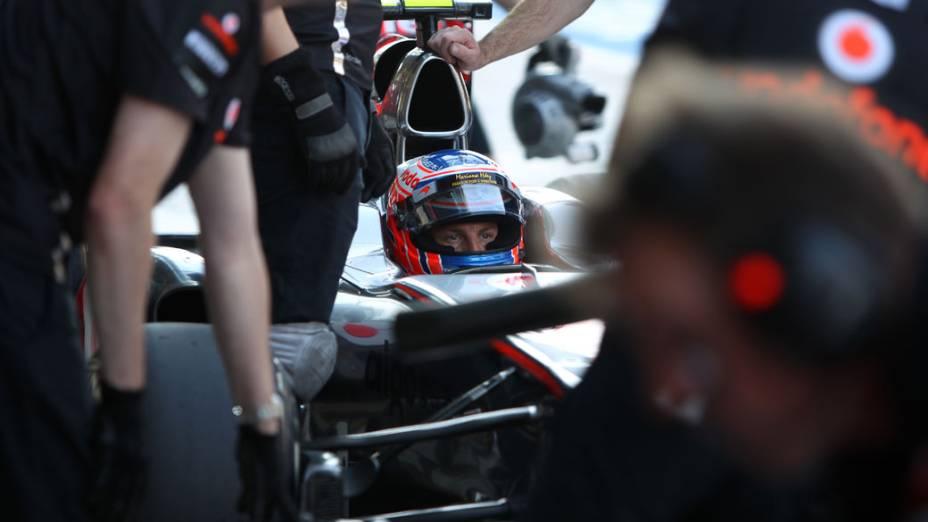 Jenson Button, da McLaren, durante o treino classificatório do GP de Abu Dhabi