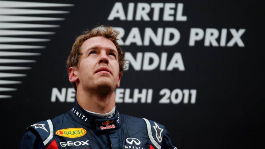 Sebastian Vettel, da Red Bull Racing, comemora após vencer o GP da Índia