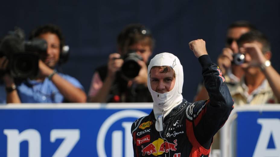 Sebastian Vettel, da Red Bull Racing, comemora sua vitória no GP da Itália