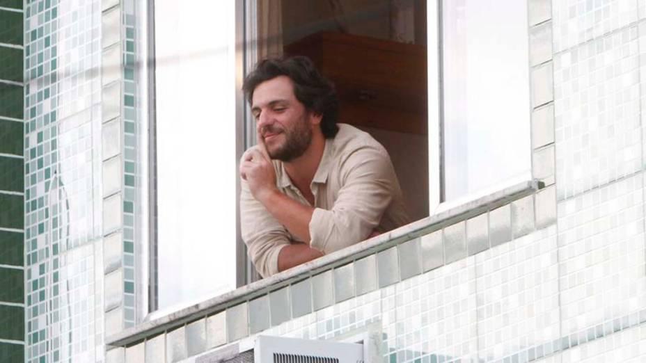 Rodrigo Lombardi durante gravação da novela <em>O Astro</em>, nesta quarta, no bairro Taquara, Rio de Janeiro. Ele será o protagonista Herculano Quintanilha, um trambiqueiro que se dá bem na vida
