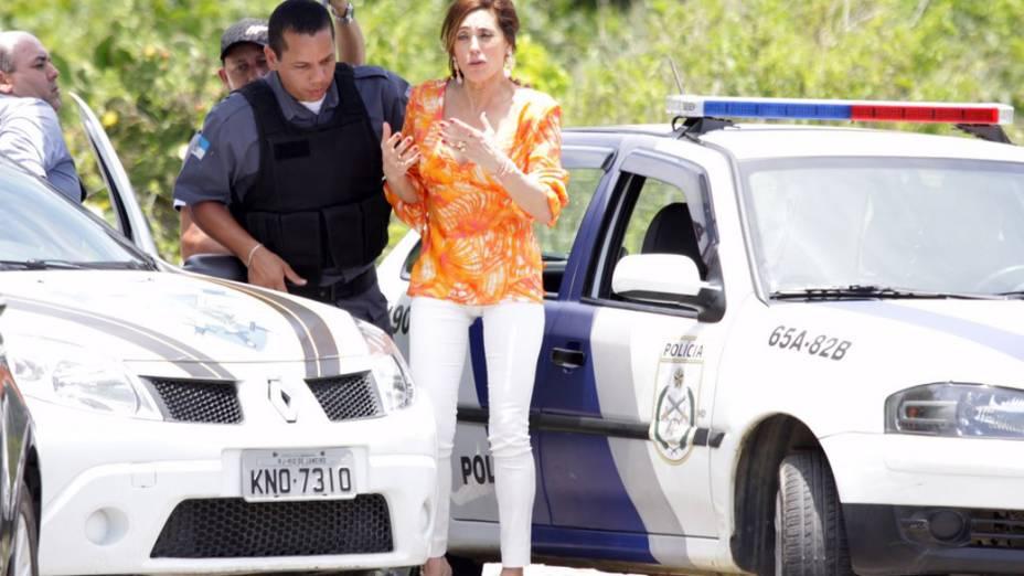Christiane Torloni durante gravação da novela Fina Estampa na praia de Grumari, Rio de Janeiro