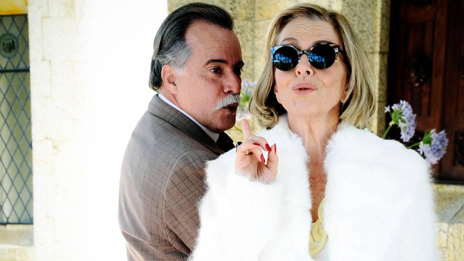 """Otávio (Tony Ramos) e Charlô (Irene Ravache) durante gravações de """"Guerra dos Sexos"""""""
