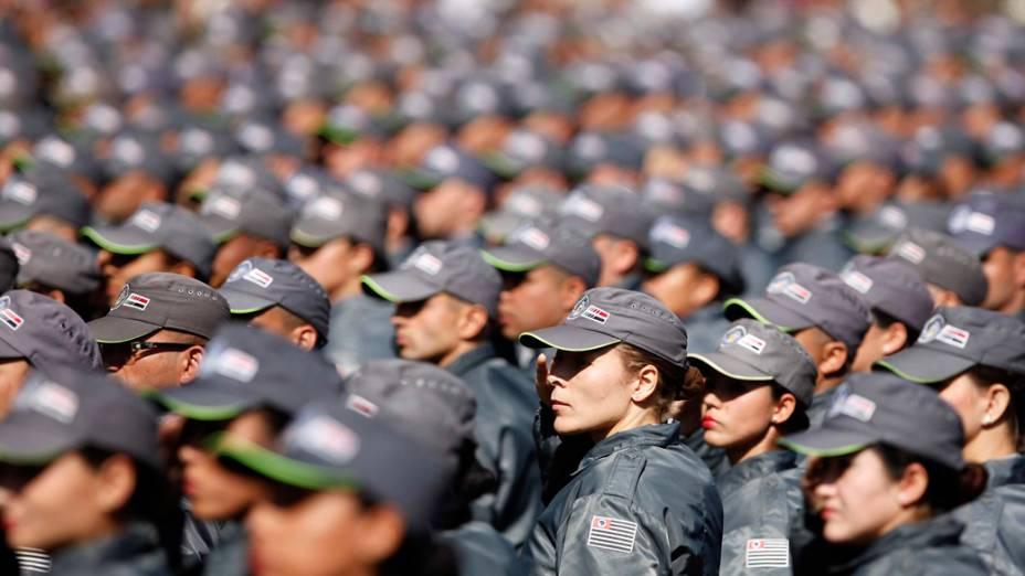 Cerimônia da graduação da polícia militar de São Paulo em julho de 2012