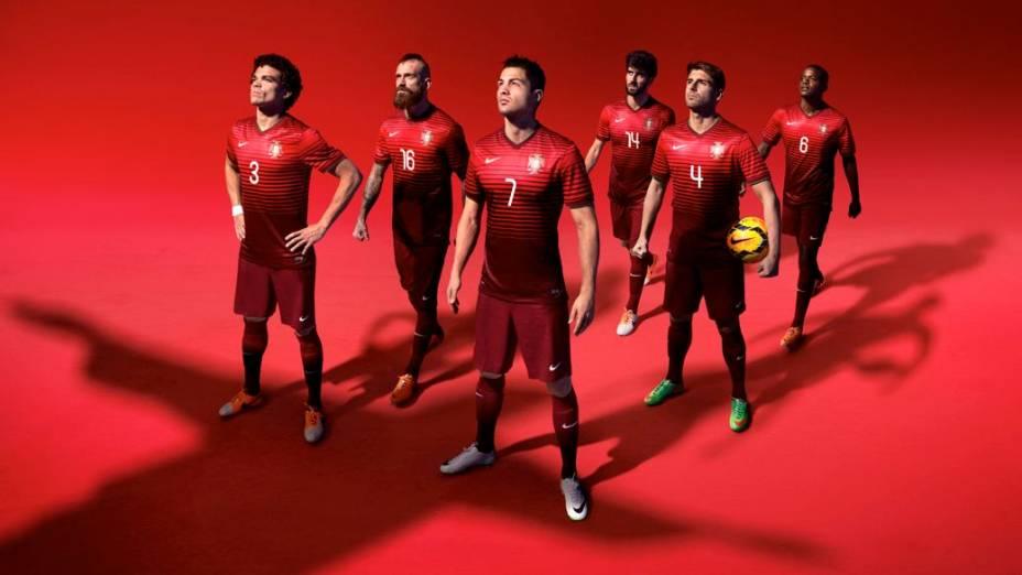 Com Cristiano Ronaldo em destaque, a peça promocional que lançou o uniforme da Portugal para a Copa, criado pela Nike