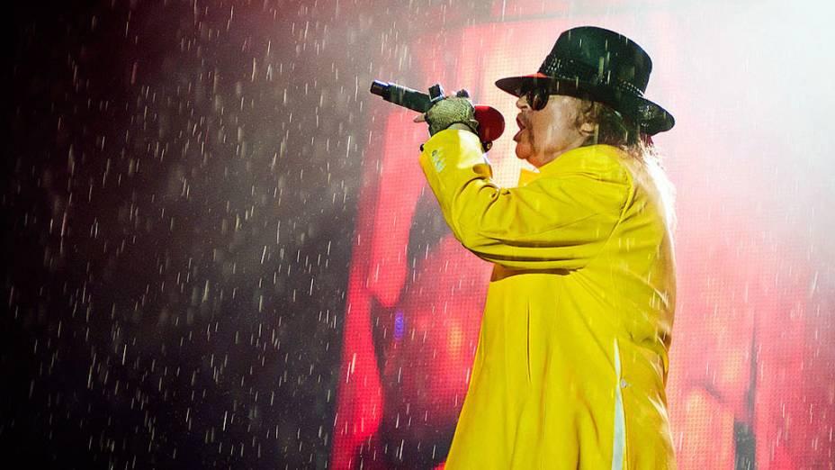 Guns n Roses durante o show no palco Mundo, no último dia do Rock in Rio, em 02/10/2011