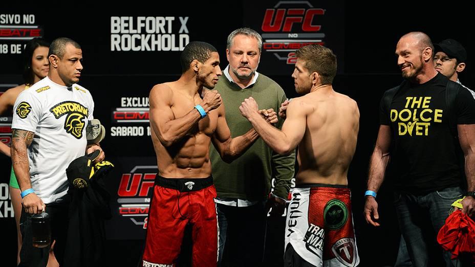 Hacran Dias e Nic Lentz durante a pesagem do UFC Jaraguá do Sul em (SC)