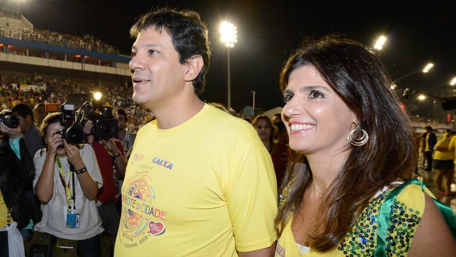 Fernando Haddad com a esposa no carnaval de São Paulo
