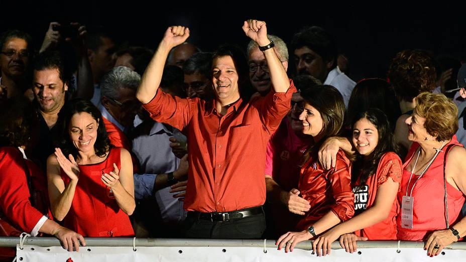 Fernando Haddad (PT) festeja vitória no segundo turno das eleições em São Paulo na Avenida Paulista