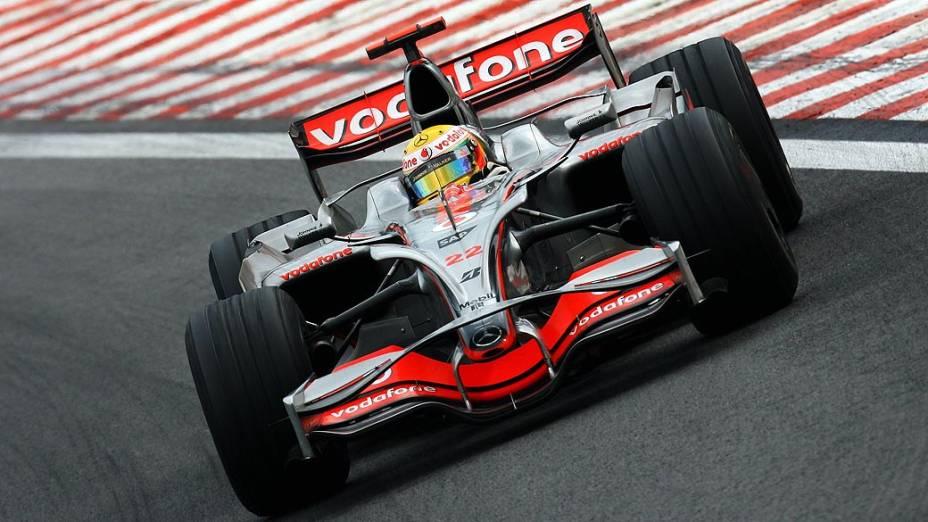 Lewis Hamilton durante a Fórmula 1, em 2008