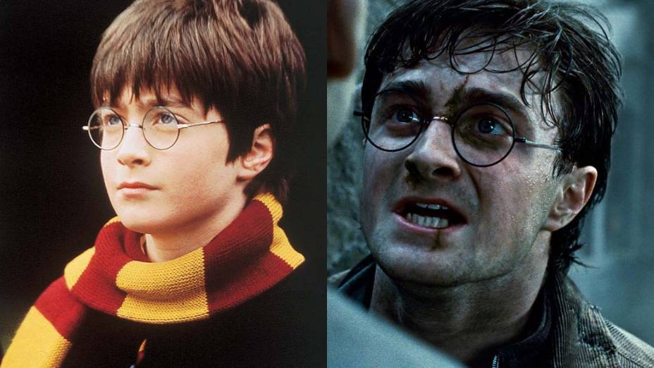 Daniel Radcliffe como Harry Potter em <em>Harry Potter e a Pedra Filosofal</em>, de 2001, e em <em>Harry Potter e as Relíquias da Morte: Parte 2</em>, de 2011