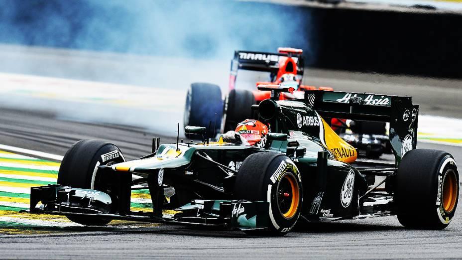Heikki Kovalainen, durante treino classificatório para o GP do Brasil
