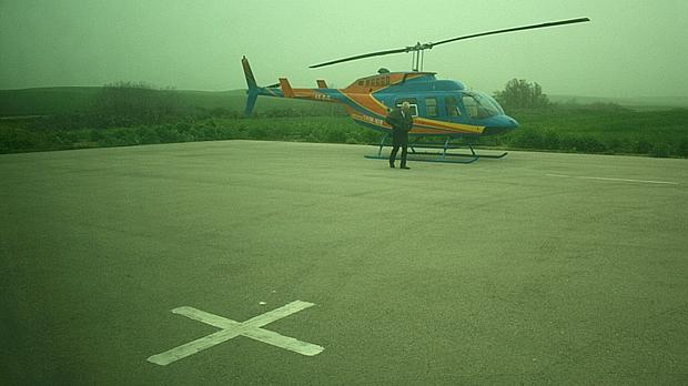 Helicóptero alugado pelo Israel Project chega a Sderot, na fronteira com Gaza