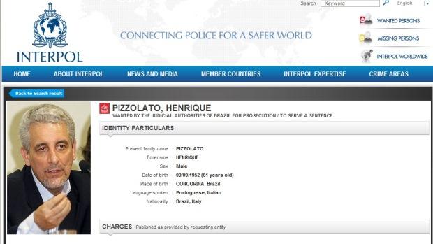 O ex-diretor do Banco do Brasil Henrique Pizzolato constava como foragido na lista de procurados da Interpol
