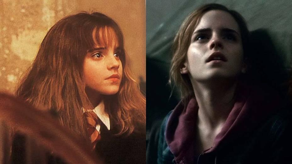 Emma Watson como Hermione em <em>Harry Potter e a Pedra Filosofal</em>, de 2001, e em <em>Harry Potter e as Relíquias da Morte: Parte 2</em>, de 2011