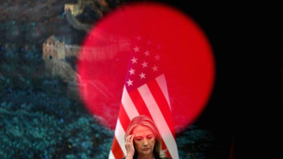 A secretária de Estado americana, Hillary Clinton durante visita à Pequim, na China