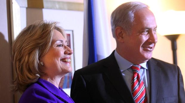 A secretária de Estado norte-americana, Hillary Clinton, e o primeiro-ministro de Israel, Benjamin Netanyahu