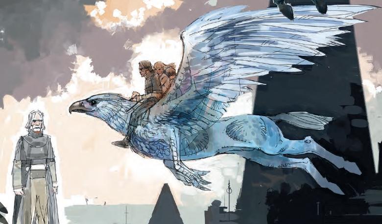 Arte do hipofrifo Bicuço por Dermot Power, explorando o posicionamento de Harry, Hermione e Sirius em suas costas