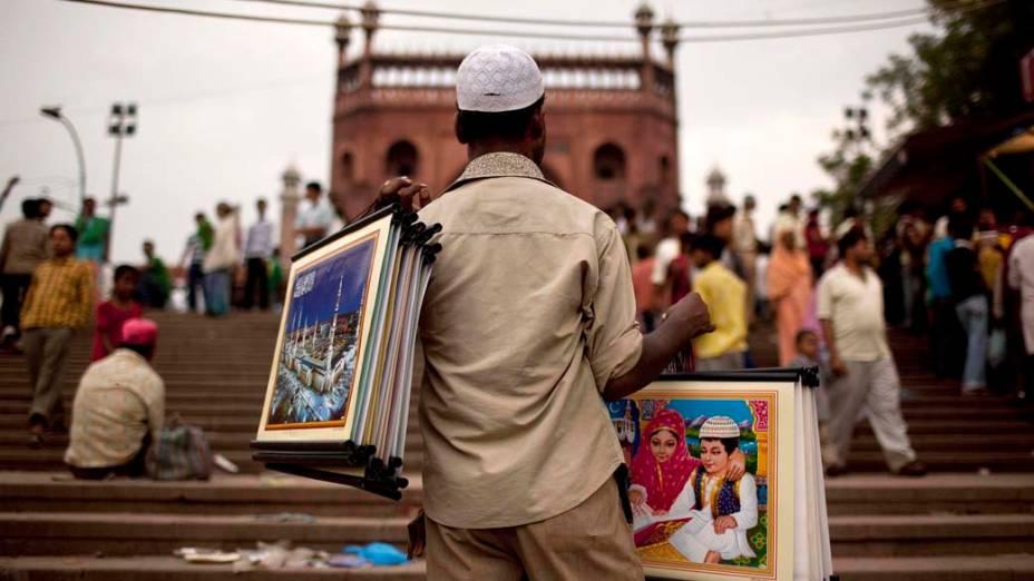 Vendedor ambulante em Nova Délhi, Índia
