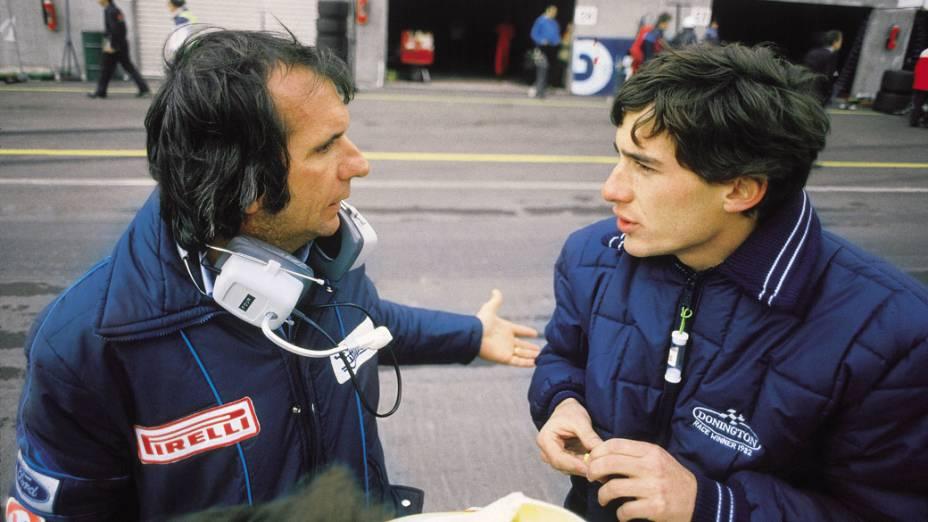 Emerson Fittipaldi conversando com Ayrton Senna