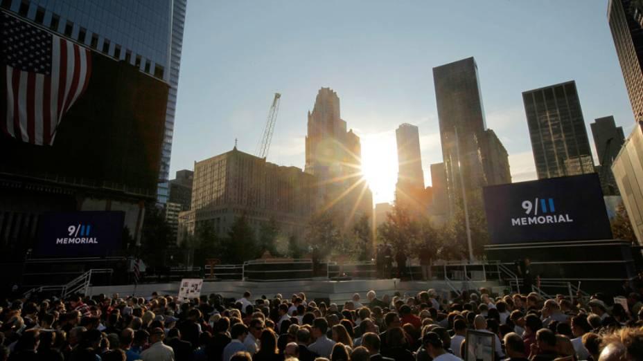 Visão geral do memorial as vítimas do 11 de Setembro, em Nova York