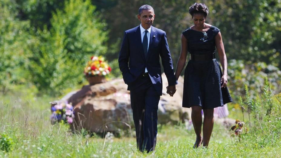 Presidente Barack Obama e a primeira dama Michelle Obama visitam o memorial das vítimas do voo United 93, derrubado durante em 11 de Setembro de 2001