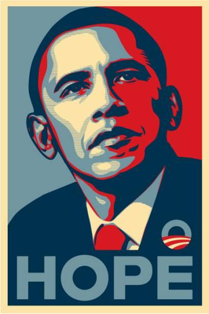 O famoso pôster <em>Hope</em> criado por Shepard Fairey para a campanha presidencial de Obama em 2008