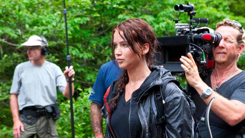Jennifer Lawrence nas gravações do filme Jogos Vorazes