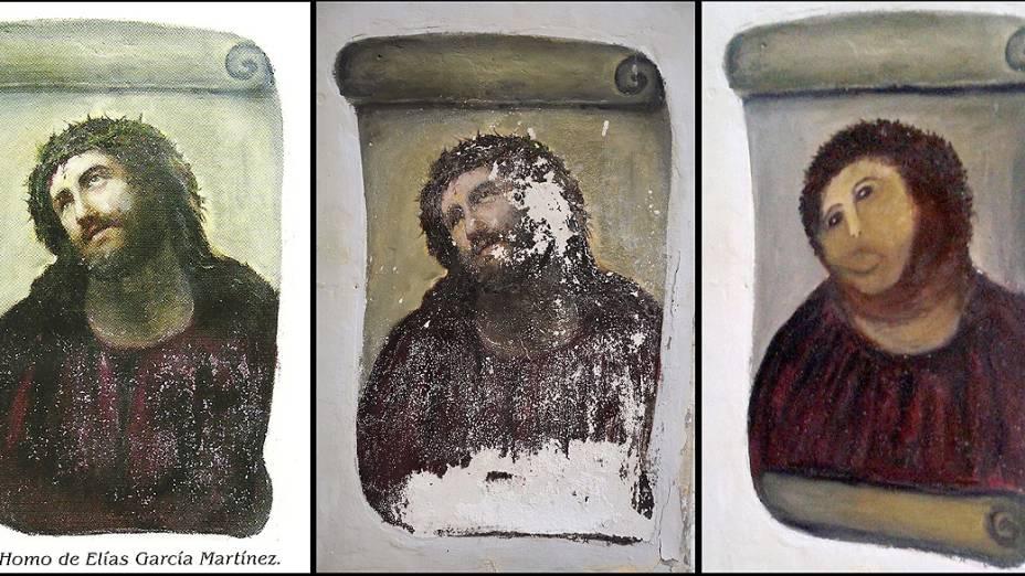 """Idosa tenta recuperar pintura do século 19 e acaba estragando a tela. Na montagem, é possível ver a pintura em boas condições (esq.), a obra danificada pelo tempo (meio), e, por fim, a """"restauração"""" feita pela idosa (dir.)"""