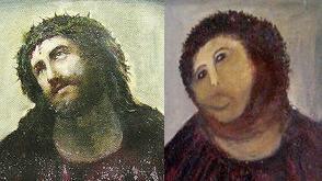 Idosa tenta recuperar pintura do século XIX e acaba estragando a tela. Na montagem, é possível ver a pintura original (esq.) e a restauração (dir.)