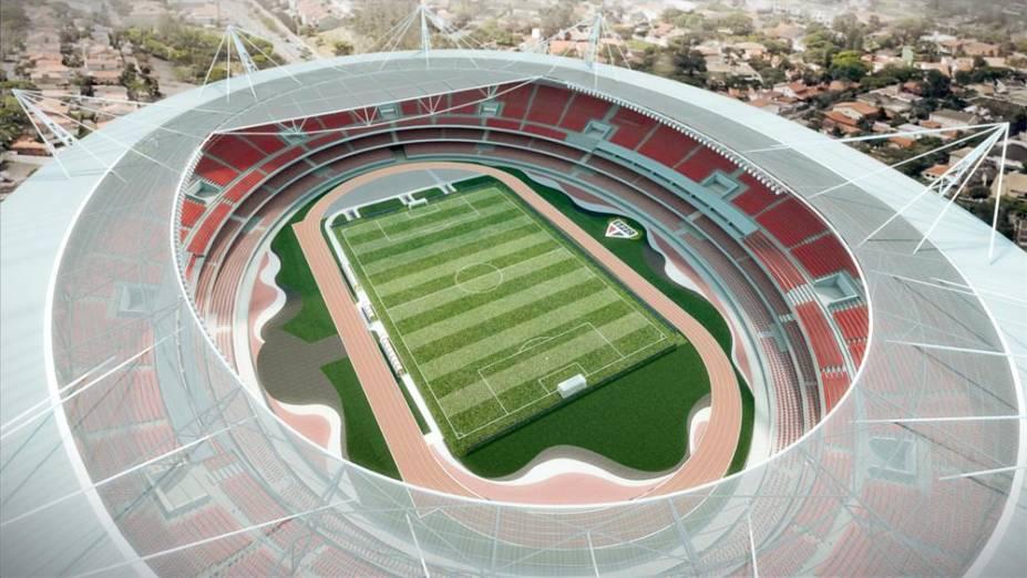 Ilustração de visão geral do projeto de cobertura do estádio do Morumbi
