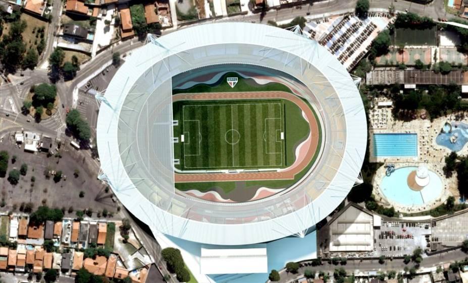 Ilustração de vista aérea do projeto de cobertura do estádio do Morumbi