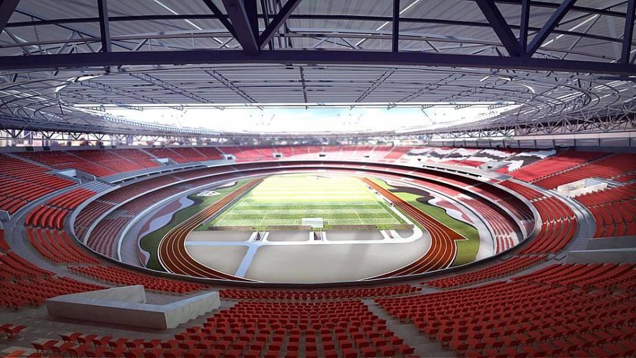 Ilustração do projeto de cobertura do estádio do Morumbi