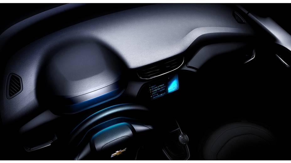Imagem do interior do novo Onix, divulgada pea GM
