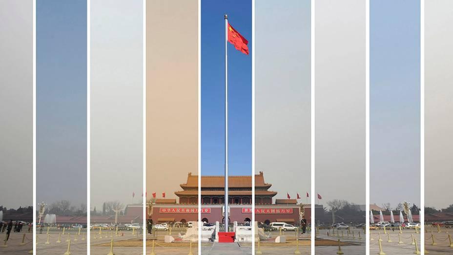 Combinação de fotos mostra o céu de Pequim de 6 a 15 de março de 2013. O país declarará guerra a poluição