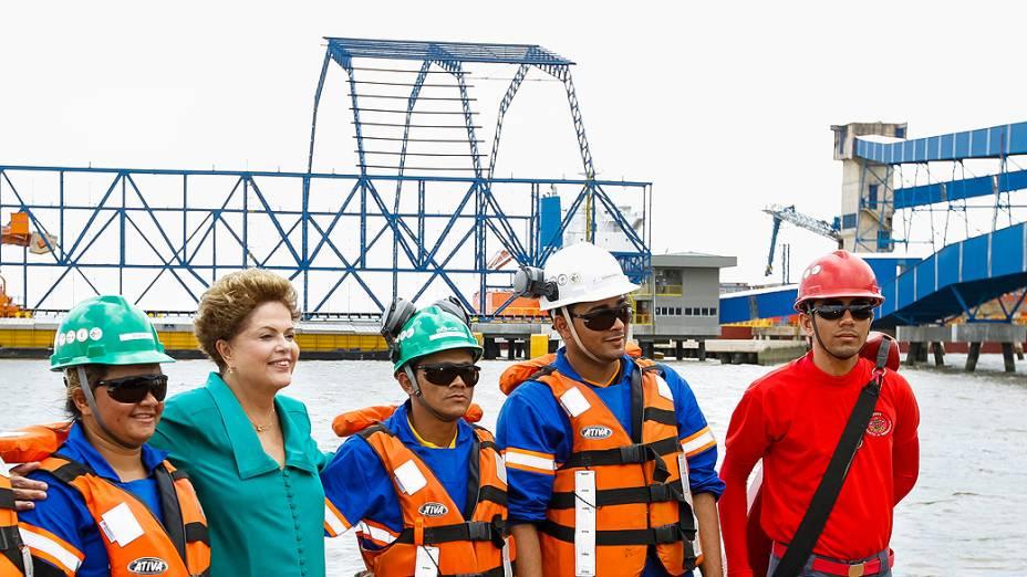 A presidente Dilma Rousseff durante cerimônia de inauguração do Complexo Portuário Miritituba-Barcarena ( PA)