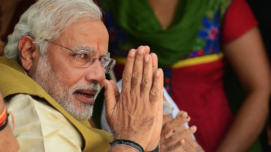 O vencedor da eleição na Índia, Narendra Modiem sua casa, em Gandhinagar