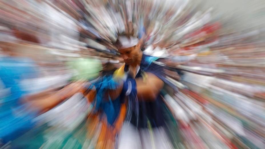 O tenista espanhol David Ferrer duranteo torneio Roland Garros, em Paris, França