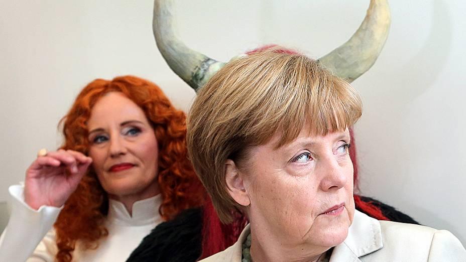 A chanceler alemã Angela Merkel no início de uma reunião do Partido Democrático Cristão em Berlim, Alemanha