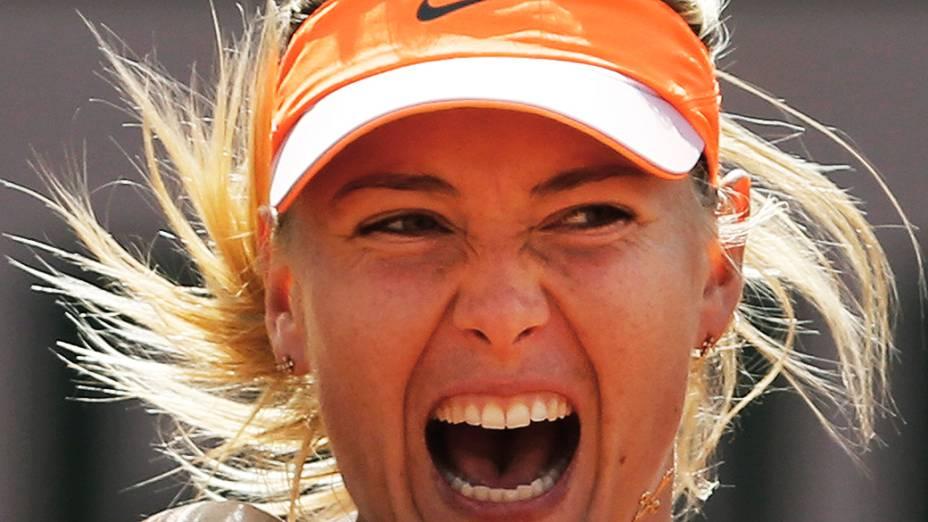 A russaMaria Sharapova durante a semifinal do Aberto de Tênis da França, no estádio Rolang Garros, em Paris