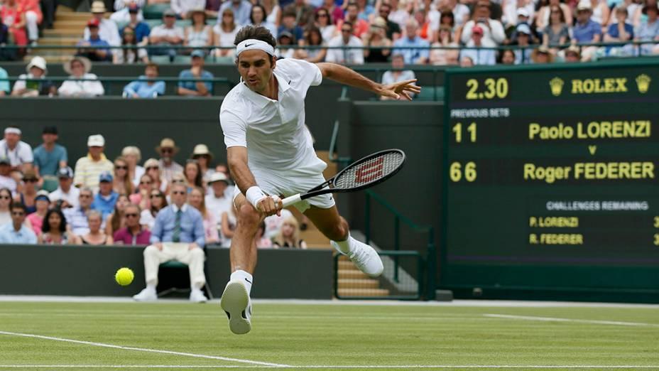 O atleta suíço, Roger Federer, durante partida de tênis do campeonatoWimbledon, em Londres, na Inglaterra