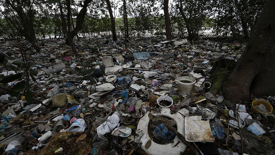 Lixo e entulho são vistos entre árvores perto de uma barreira de contenção na Baía de Guanabara no Rio de Janeiro. No local estão previstas as provas de vela durante Jogos Olímpicos de 2016