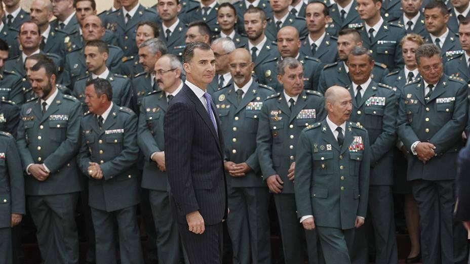 Em Madri, orei da Espanha,Felipe VI, recebeu no Palácio de El Pardo,representantesda Polícia Municipal eda Guarda Civil