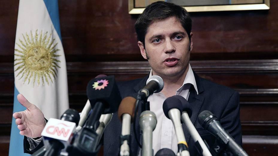 Ministro da Economia argentino, Axel Kicillof, fala à imprensa no Consulado da Argentina, em Nova Yorkdepois de uma reunião de mediação sobre a dívida do país