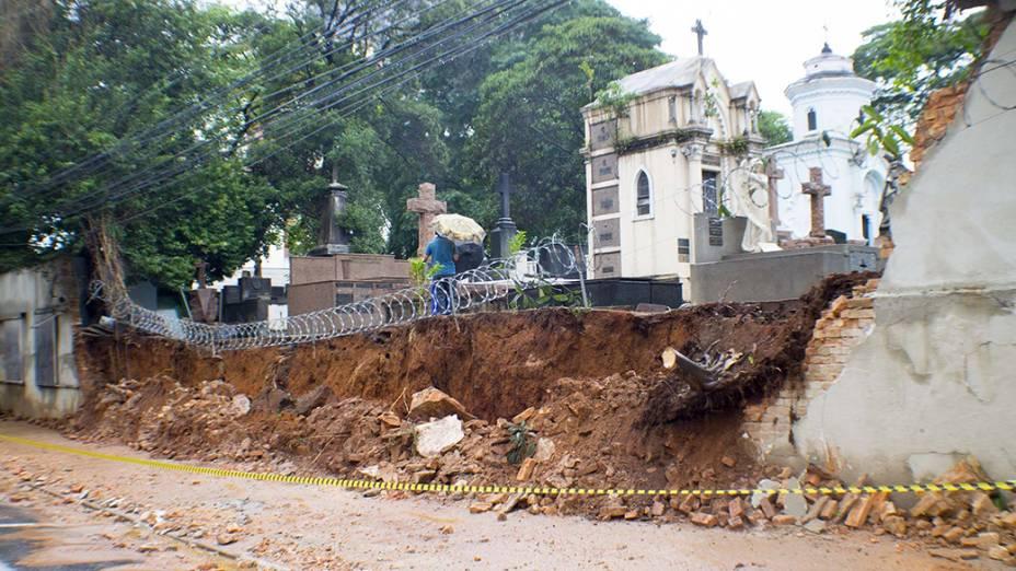 Queda de parte do muro do cemitério da Consolação, na rua Mato Grosso