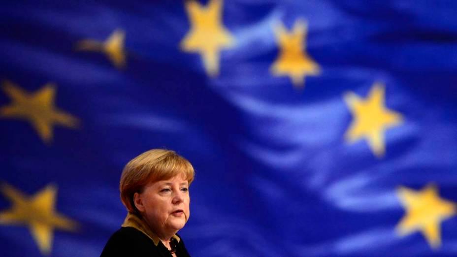 A chanceler alemã, Angela Merkel, durante Congresso do Partido CDU, em Hanover