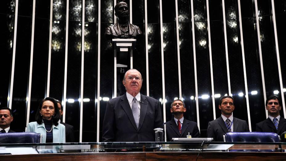 Presidente do Senado, José Sarney (PMDB-AP) durante sessão deliberativa ordinária para escolha do novo presidente da Casa <br>