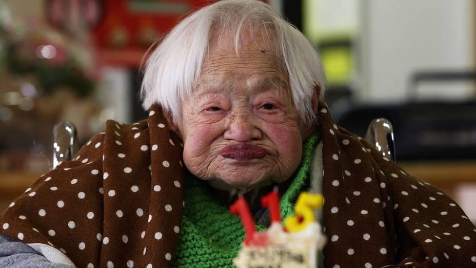 A mulher mais velha do mundo, a japonesa Misao Okawa, completou nesta terça-feira 115 anos de idade em sua cidade natal, Osaka