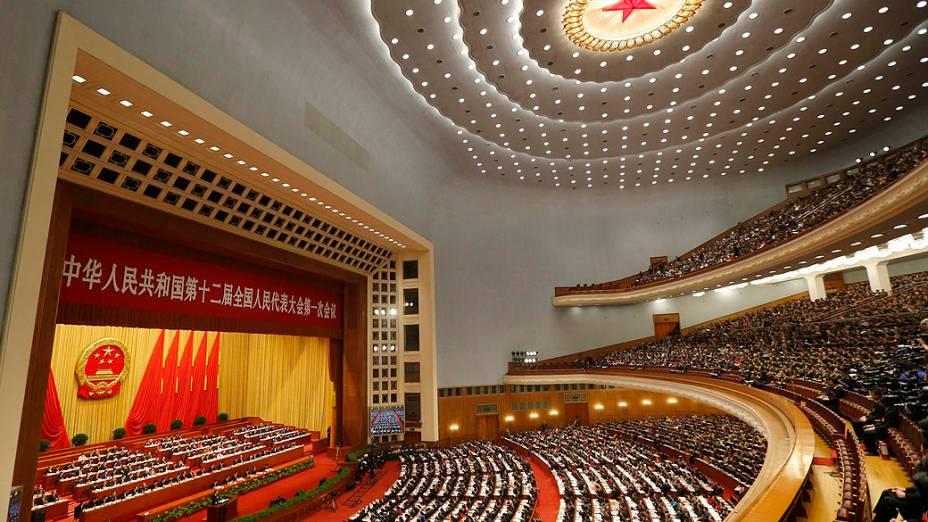 O premiê da China, Wen Jiabao, durante seu discurso de abertura do Congresso Popular Nacional, organizado pelo Partido Comunista chinês em Pequim