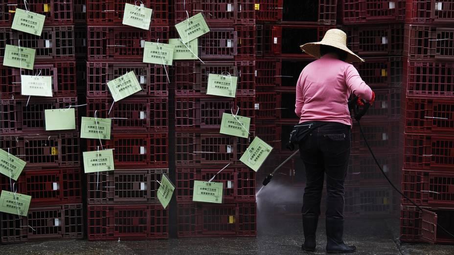 Mulher limpa gaiolas vazias, que foram utilizados para o transporte de frangos no intuito de conter surto de gripe aviária em Hong Kong, na China