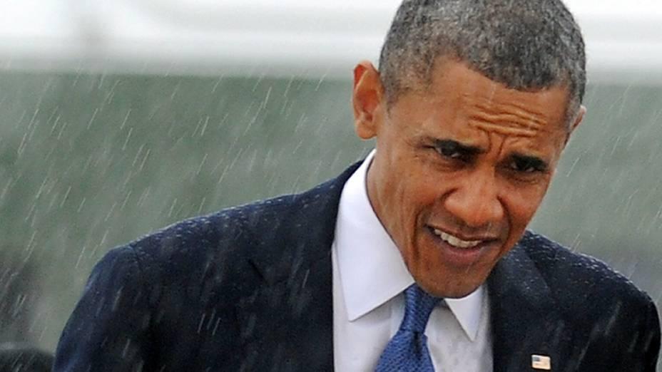 Barack Obama na Base Aérea de Andrews, em Maryland. O presidente americano participou de uma homenagem às vítimas do atentado na Maratona de Boston